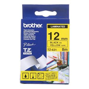 Brother P-Touch Laminated 12mm Black/Yellow Tz-631